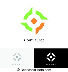 Right place logo - address mark and target symbol. Position,...