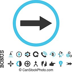 Right Rounded Arrow Flat Vector Icon With Bonus