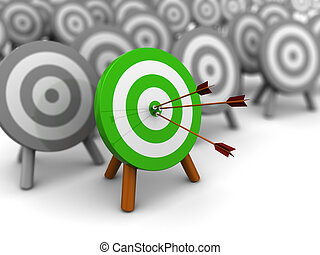 right target - 3d illustration of choice right target...