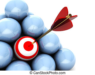 right target - abstract 3d illustration of balls with one...