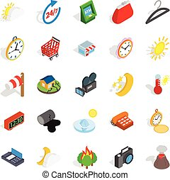 Right time icons set, isometric style