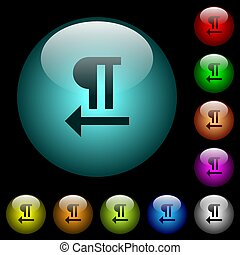 Right to left text direction icons in color illuminated glass buttons