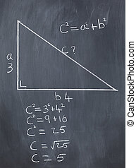 Right triangle with pythagorean formula and calculations on ...