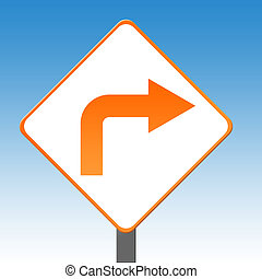 Right turn sign - Orange right turn arrow sign with blue sky...