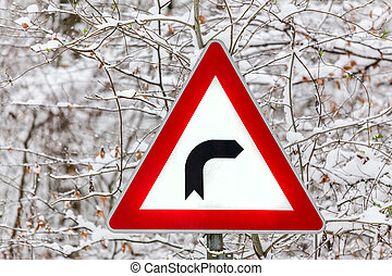 right turn winter sign