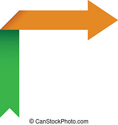 Vector Illustration of Arrow Folding Over Itself Pinting Right