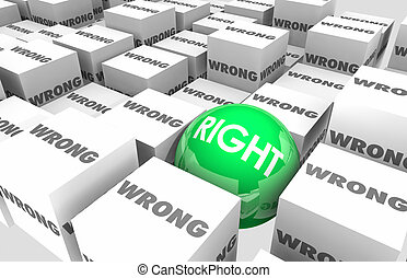 Right Vs Wrong Choice Correct Accuracy Cubes Sphere 3d Illustration
