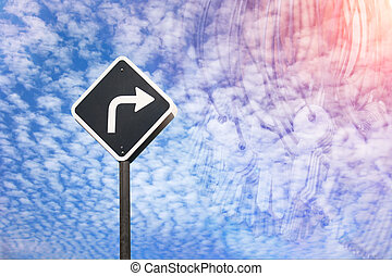 Right way concept by traffic sign and many key in blending mode