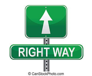 Street sign that reads Right Way isolated over a white background. Great background concept.