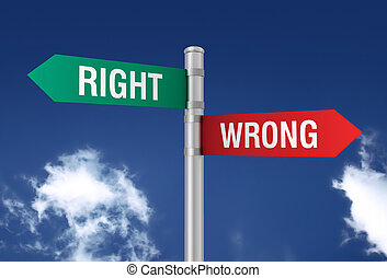 right wrong road sign