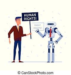 rights., menselijk, robot, vecht