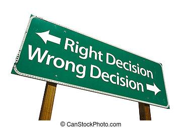 right/wrong, bestemmelse, tegn