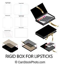 rigid box book shape for lipsticks package dieline