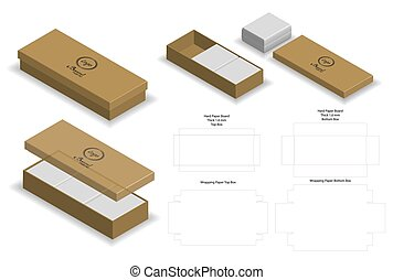 Rigid Box For Soap Mockup with Dieline