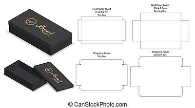 rigid box packaging die cut template 3D mockup