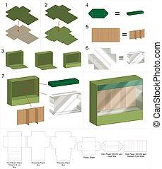 rigid box with plastic window mockup with dieline