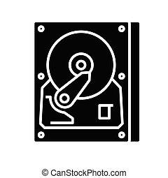 Rigid disc black icon, concept illustration, glyph symbol, vector flat sign.