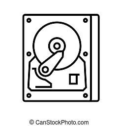 Rigid disc line icon, concept illustration, outline symbol, vector sign, linear symbol.