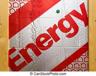 Rigid extruded building insulation saving energy - Close-up...