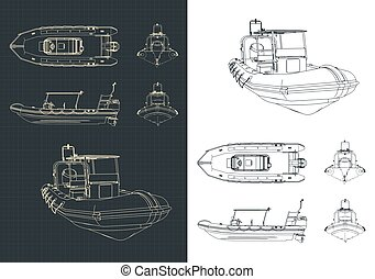 Stylized vector illustration of rigid inflatable boat drawings