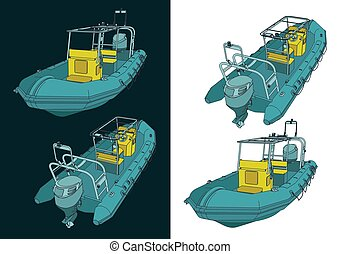 Stylized vector illustration of rigid inflatable boat color drawings