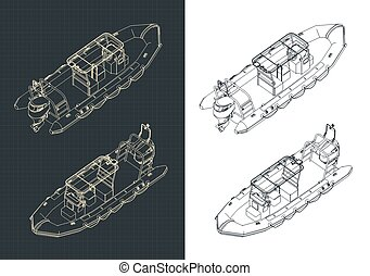 Stylized vector illustration of rigid inflatable boat isometric drawings