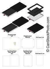 rigid slide sleeve box mockup with dieline