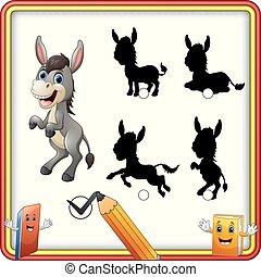rigolote, âne, shadow., trouver, enfants, jeu, dessin animé, education, correct, standing.