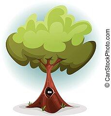 rigolote, écureuil, nid, arbre, intérieur, oiseau, coffre, ou