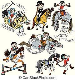 rigolote, équestre, ensemble, sport, une