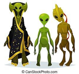 rigolote, étrangers, dessin animé, extraterrestre, invaders...