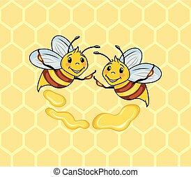 rigolote, abeilles, deux, fond, rayon miel