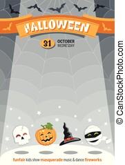 rigolote, affiche, halloween, characters., gabarit, dessin animé