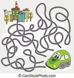 rigolote, aide, ville, voiture, -, jeu, manière, labyrinthe, trouver