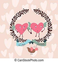 rigolote, amour, doux, cœurs, élégant, carte