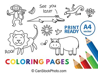 rigolote, animaux, livre, coloration