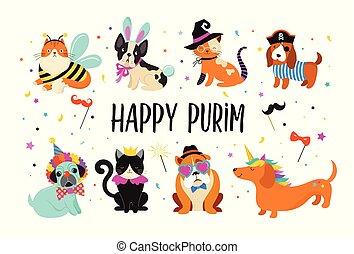 rigolote, animaux, pets., mignon, chiens, et, chats, à, a, coloré, carnaval, costumes, vecteur, illustration, heureux, purim, bannière