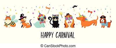 rigolote, animaux, pets., mignon, chiens, et, chats, à, a, coloré, carnaval, costumes, vecteur, illustration