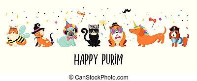 rigolote, animaux, pets., mignon, chiens, et, chats, à, a, coloré, carnaval, costumes, vecteur, illustration., heureux, purim, bannière