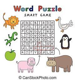 rigolote, animaux, puzzle, jeu, mot, intelligent