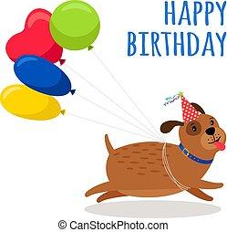 rigolote, anniversaire, ballons, chien, carte
