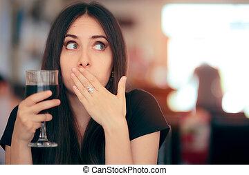 rigolote, après, réagir, crépu, soude, girl, boire, boisson