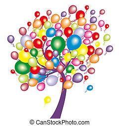 rigolote, arbre, ballons