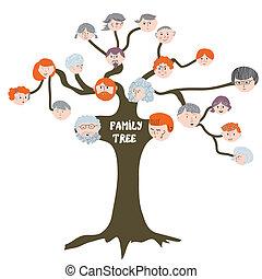 rigolote, arbre généalogique, -, illustration, dessin animé