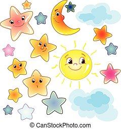 rigolote, art, fond, agrafe, mignon, lune, étoiles, transparent, nuage