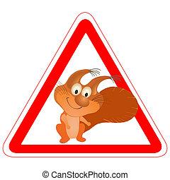 rigolote, avertissement, écureuil, signe