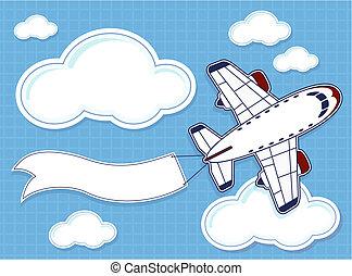 rigolote, avion, bannière, vide