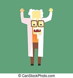 rigolote, barbiche, scientifique, manteau laboratoire