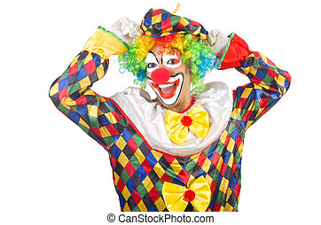 rigolote, blanc, isolé,  clown