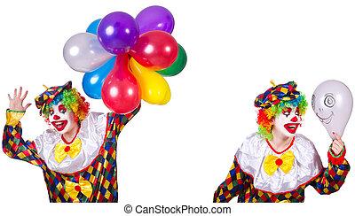 rigolote, blanc mâle, isolé, clown